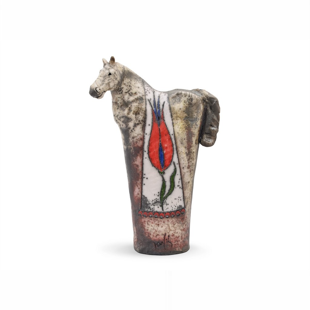 Horse figurine with tulips ;;;;; - CONTEMPORARY