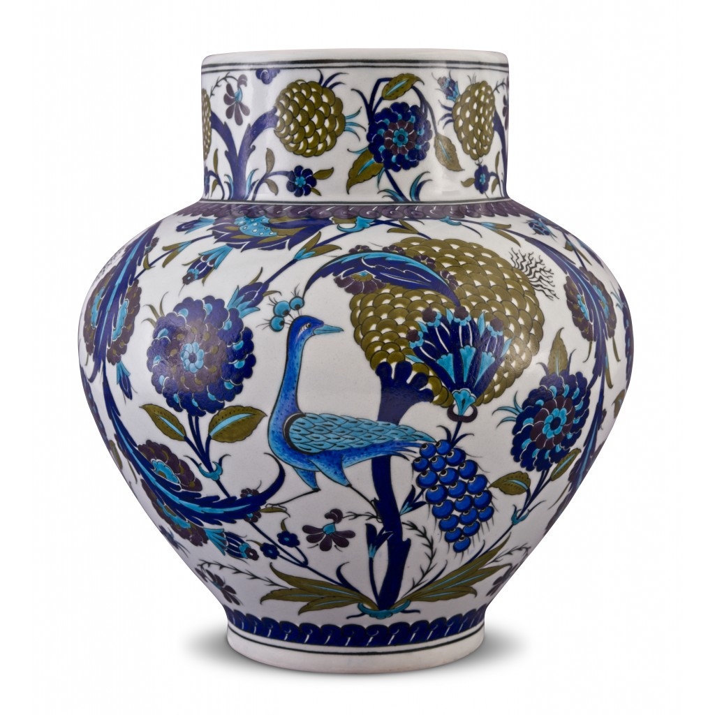 Jar with bird and floral pattern ;38;29;;; - JAR