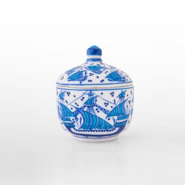 BLUE & WHITE Jar with boat figures ;14;12