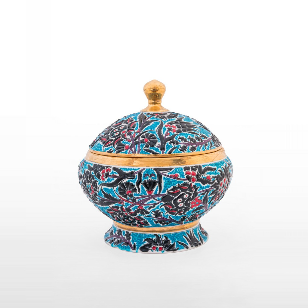 Jar with leaves and floral pattern ;30;30 - FLORAL