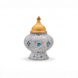 FLORAL Jar with spiral tugrakesh (golden horn) pattern ;;;;;