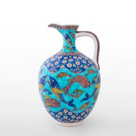FIGURE & FIGURINE Jug with fishes and hatai pattern ;46;30