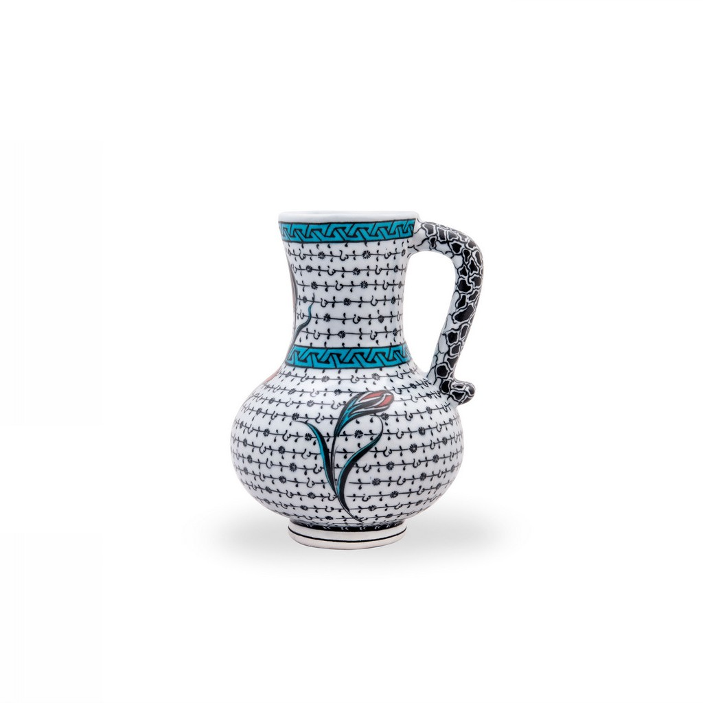 Jug with tulip and geometrical pattern ;; - GEOMETRIC