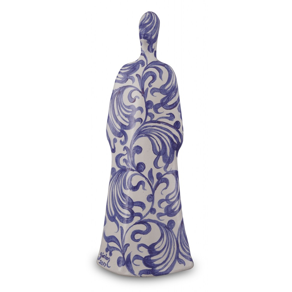 Lady figurine with floral pattern ;37;14;;; - CONTEMPORARY
