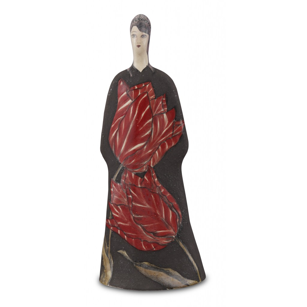 Lady figurine with tulip pattern ;37;14;;; - CONTEMPORARY