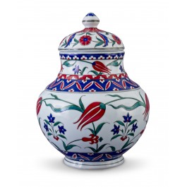 FLORAL Lidded jar with tulips and hyacinth patterns ;;;;;