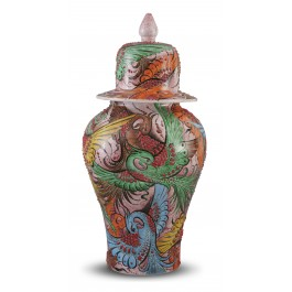 CONTEMPORARY Lidded vase with birds ;44;22;;;