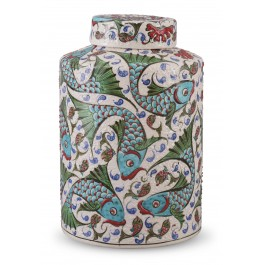 CONTEMPORARY Lidded vase with fish pattern ;25;16;;;