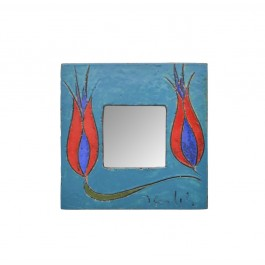 RAKU Mirror with tulips ;;