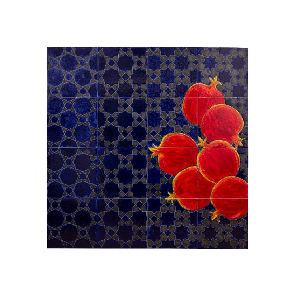 Panel with pomegranates and geometrical pattern ;80;80;;; - TILE & PANELS