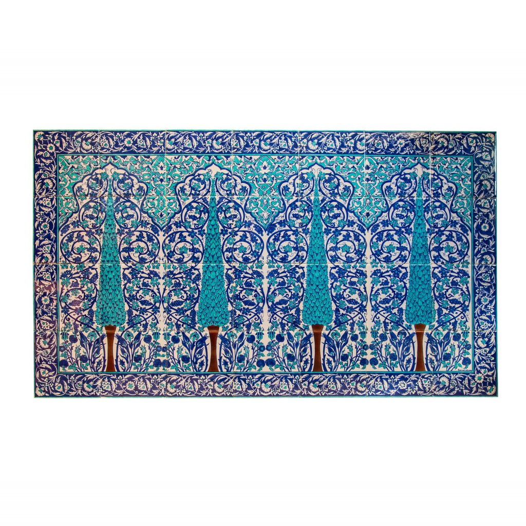 Panel with trees and rumi-hatai patterns ;; - FLORAL