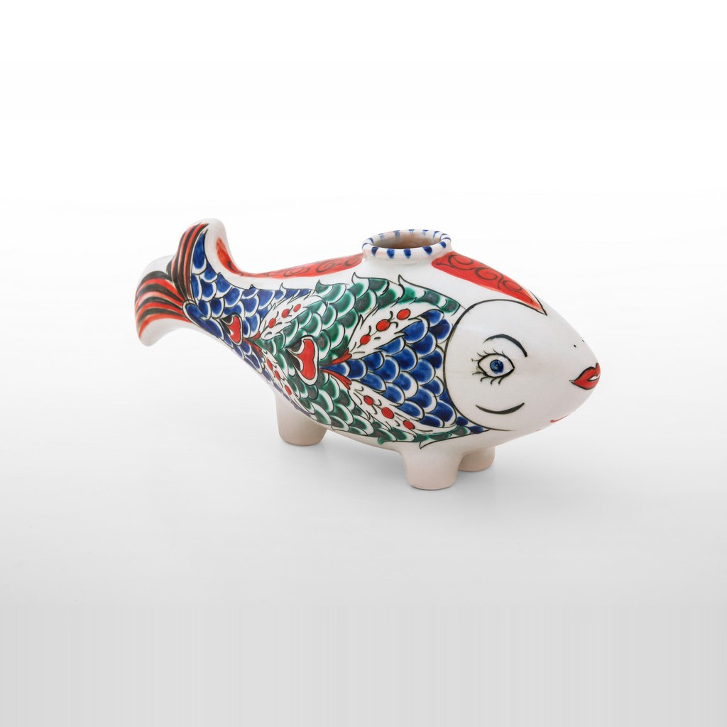 Pilgrims flask in fish figurine with scale pattern ;;;;; - DECORATIVE ITEM & OBJECTS
