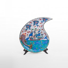 ARTIST Saim Kolhan Plate in drop form with boat and fishes ;;60