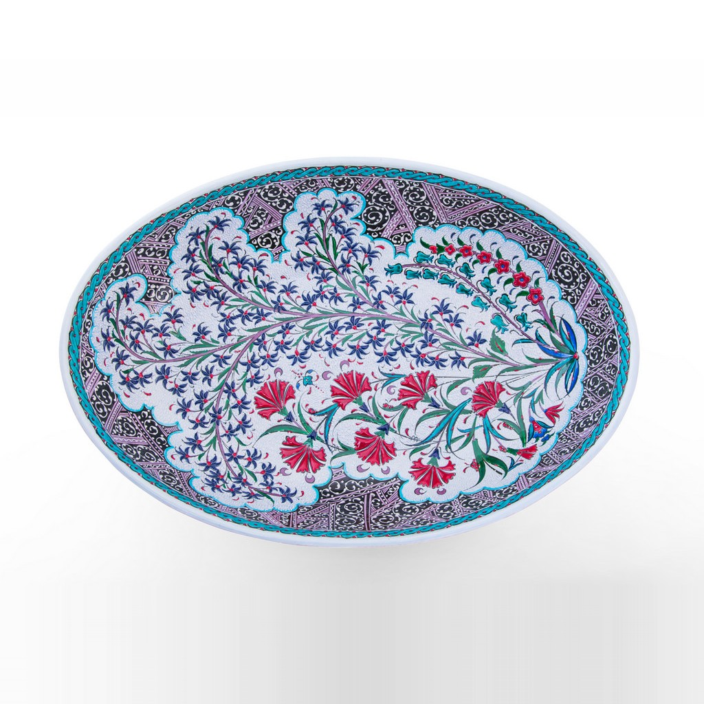 Plate with carnation flowers ;13;84x48 - PLATE