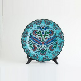 ARTIST Saim Kolhan Plate with carnation flowers and saz leaves ;;30