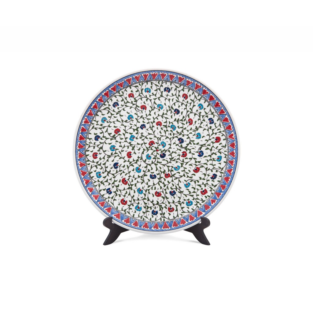 Plate with central carnation flower pattern ;; - FLORAL