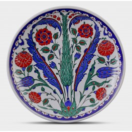 FLORAL Plate with Cypress tree and floral pattern ;;30;;;