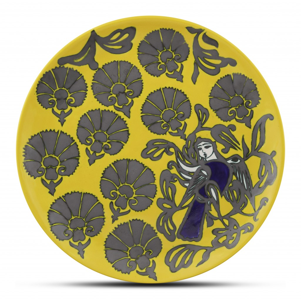 Plate with figure and floral pattern ;;42;;; - FLORAL