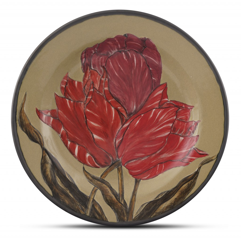 Plate with floral pattern ;;32;;; - CONTEMPORARY