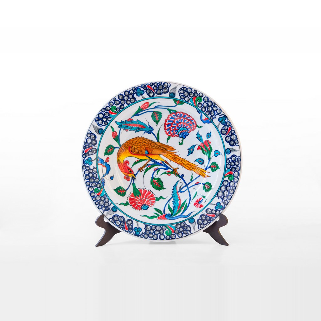 Plate with floral pattern and bird figure ;;41 - FIGURE & FIGURINE