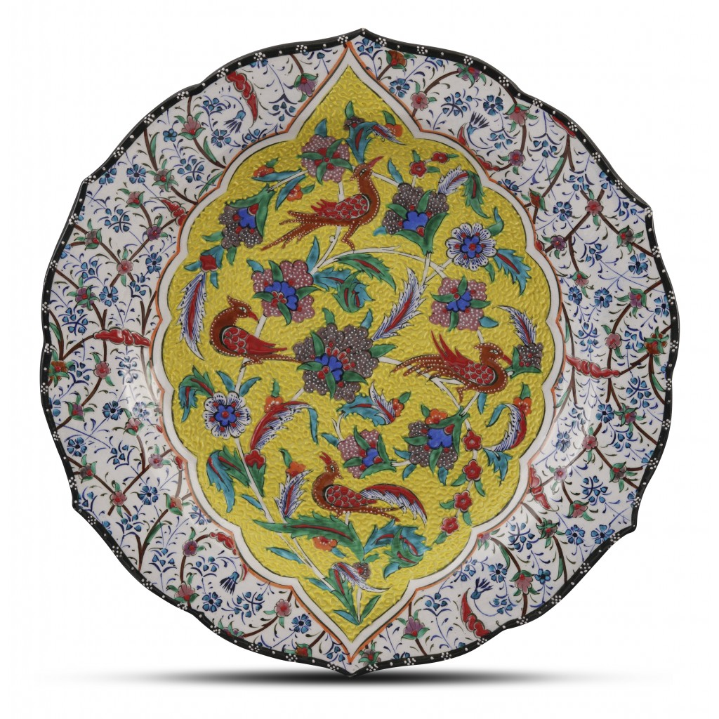 Plate with floral pattern and birds ;;30;;; - ARTIST Saim Kolhan