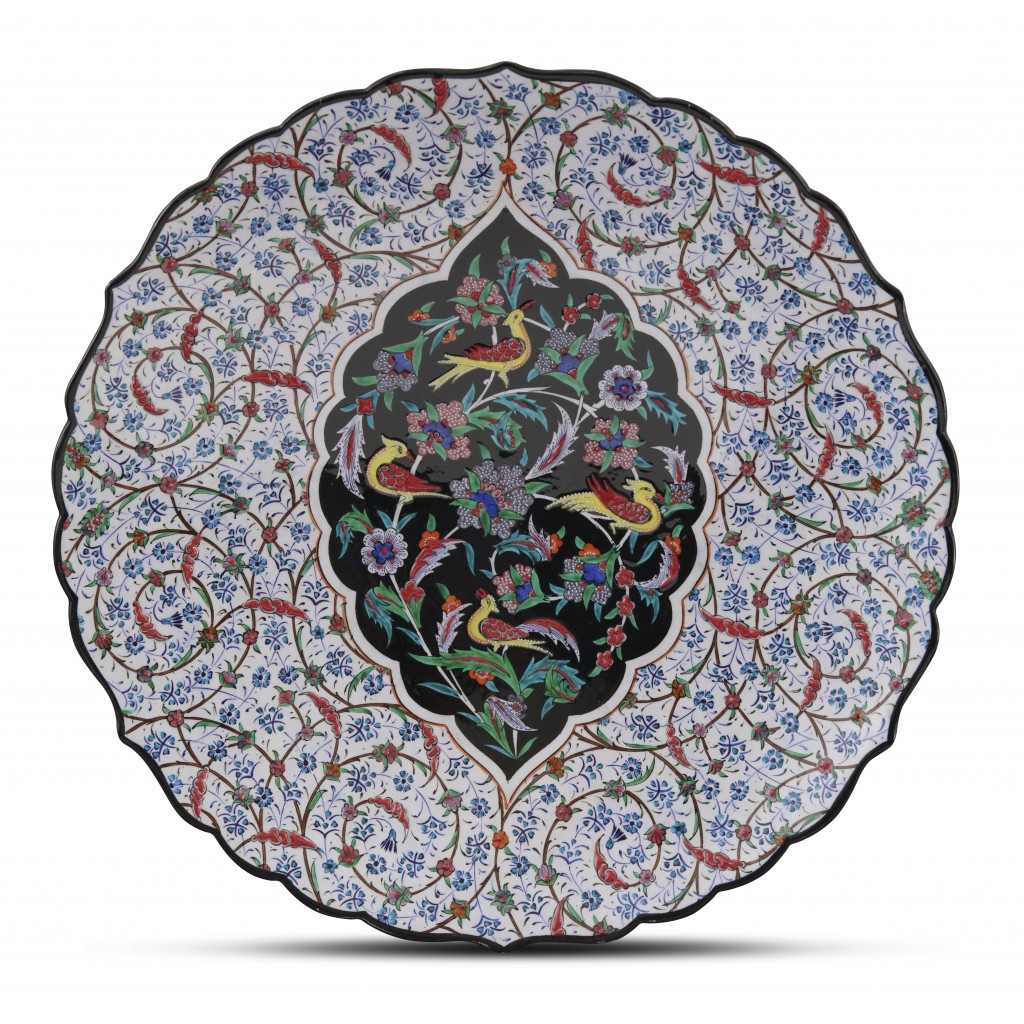 Plate with floral pattern and birds ;;43;;; - CONTEMPORARY