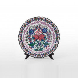 FLORAL Plate with floral pattern and foliate rim ;;43