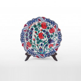 FLORAL Plate with flower and foliate rim ;;27