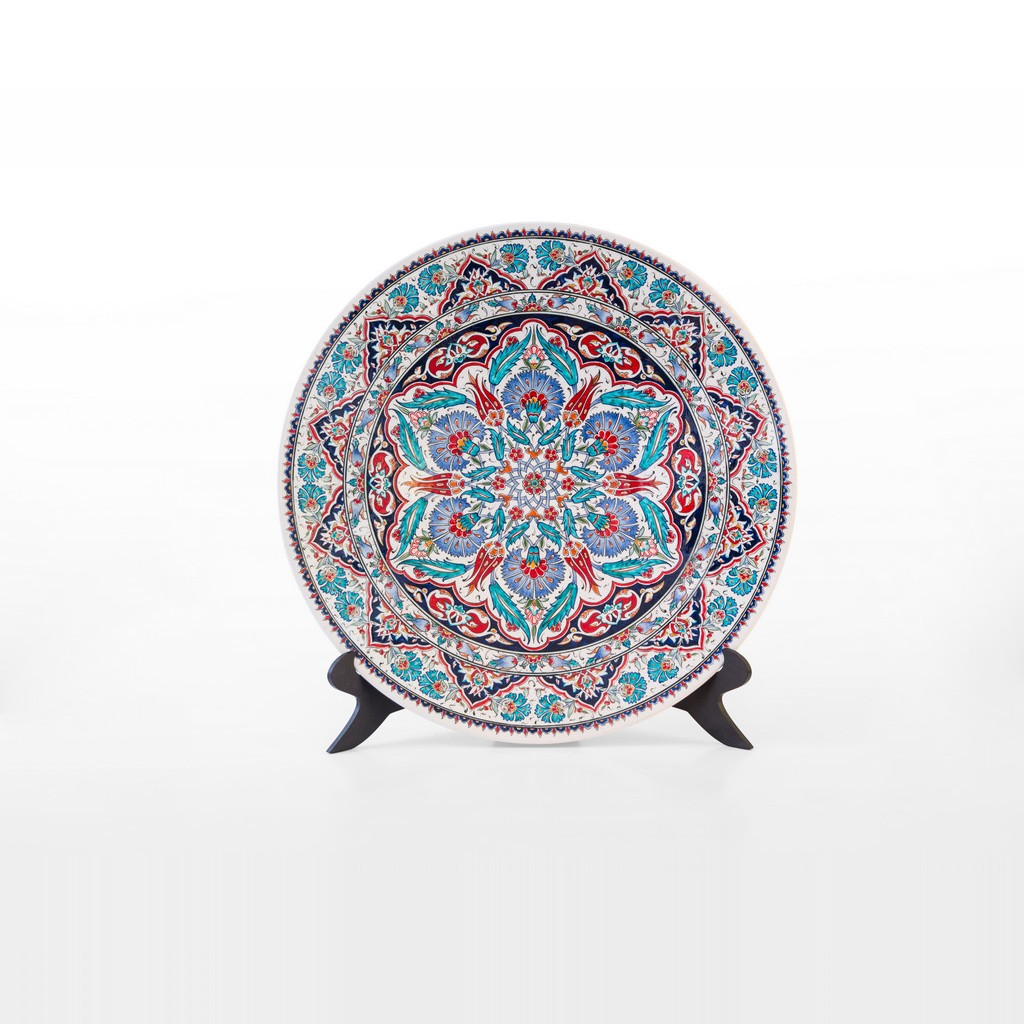 Plate with geometrical pattern ;;45 - FLORAL
