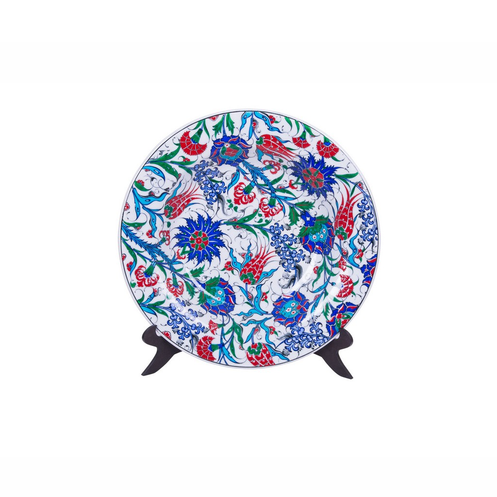 Plate with hatai and rumi pattern ;;43 - FLORAL