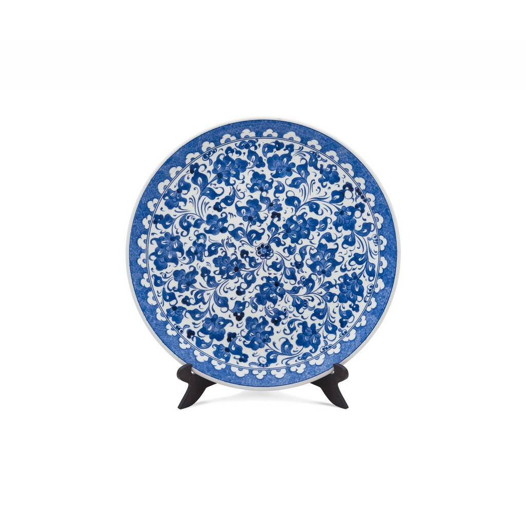Plate with hatai pattern ;; - BLUE & WHITE
