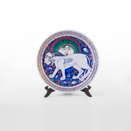 FIGURE & FIGURINE Plate with lion and sun figure ;;30