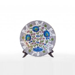 FLORAL Plate with lotus flowers and rim with scrolls ;;41