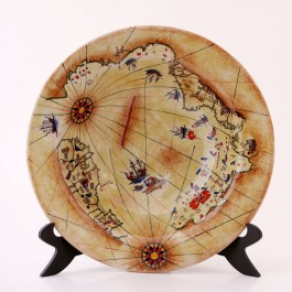 GEOMETRIC Plate with Pir'i Reis Map ;;
