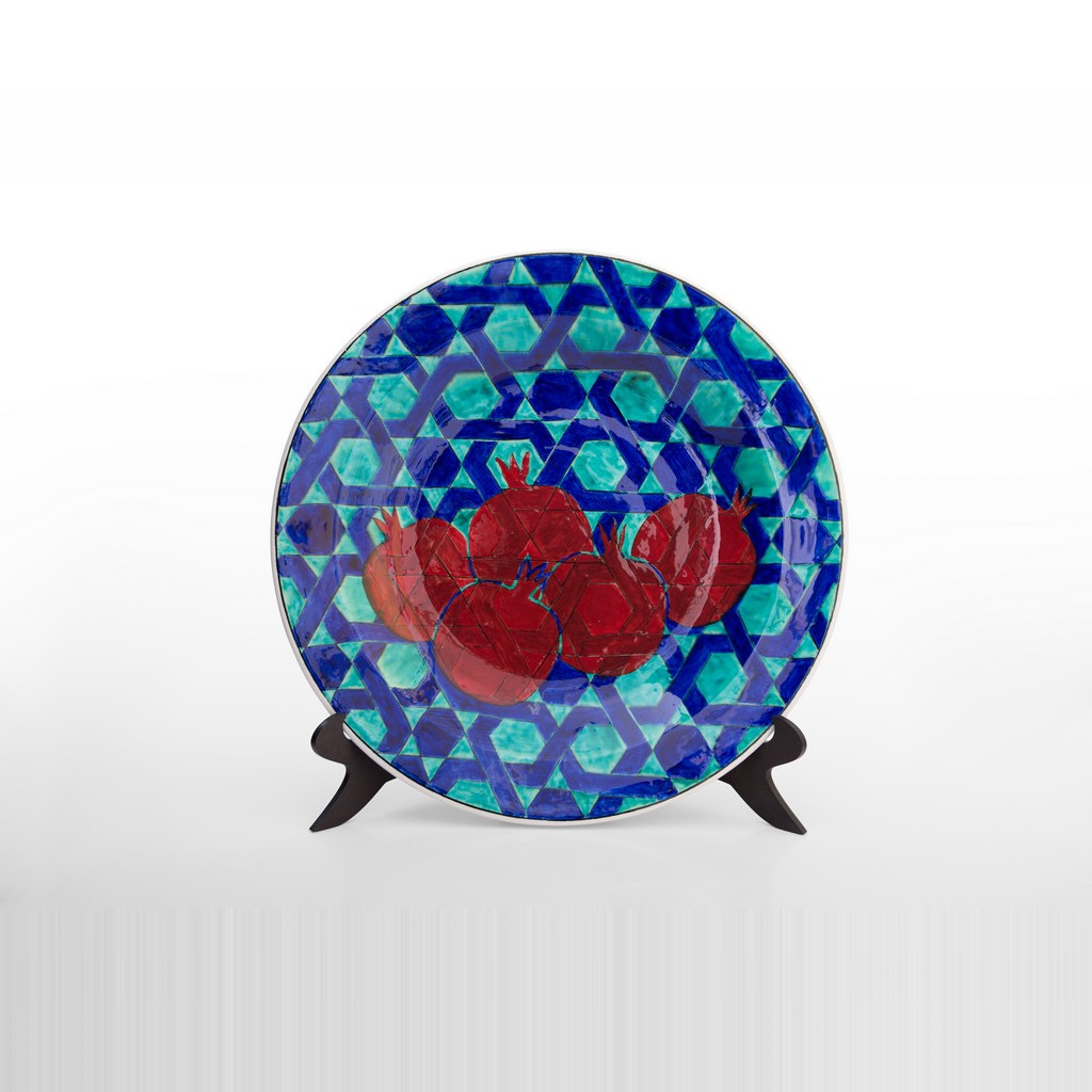Plate with pomegranates and stars in contemporary style ;;40 - CONTEMPORARY