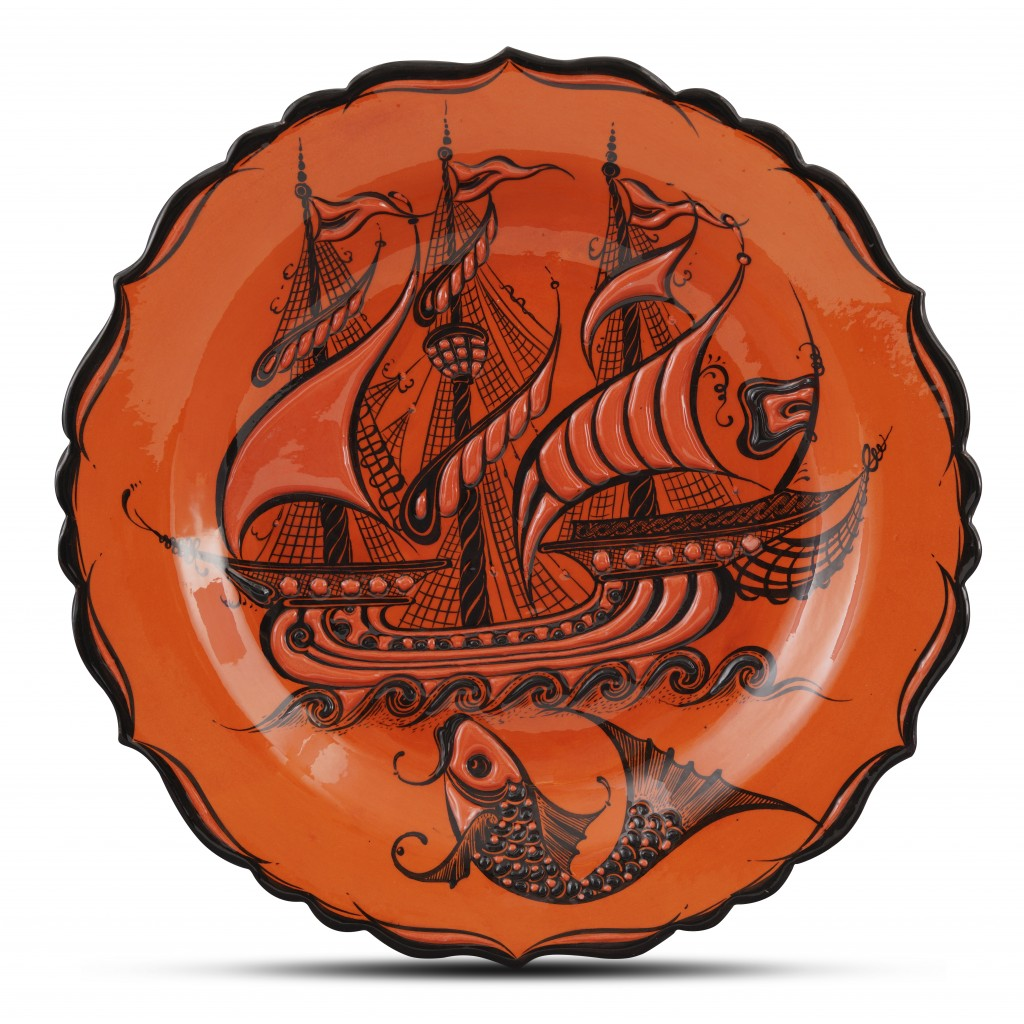 Plate with ship and fish pattern ;;30;;; - PLATE