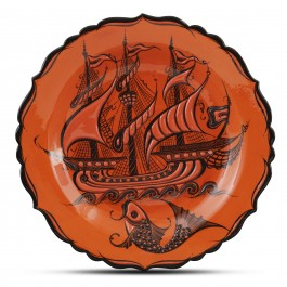 CONTEMPORARY Plate with ship and fish pattern ;;30;;;