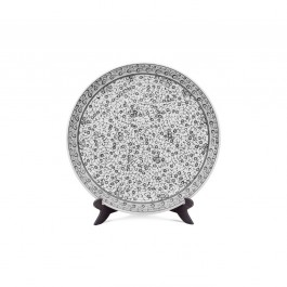 BLACK & WHITE Plate with spiral tugrakesh (golden horn) pattern ;;