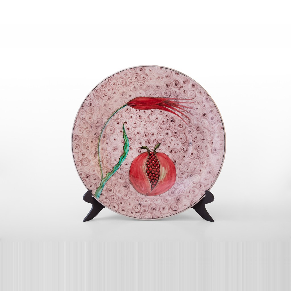 Plate with tulip and pomegranates in contemporary style ;;40 - PLATE