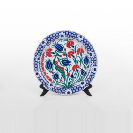 FLORAL Plate with tulips and carnation flowers ;;39