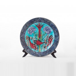 FLORAL Plate with tulips, daises and fishes ;;40