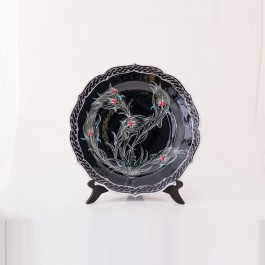 BLACK & WHITE Plate with tulips in contemporary style ;;30