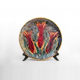 FLORAL Plate with tulips in contemporary style ;;40