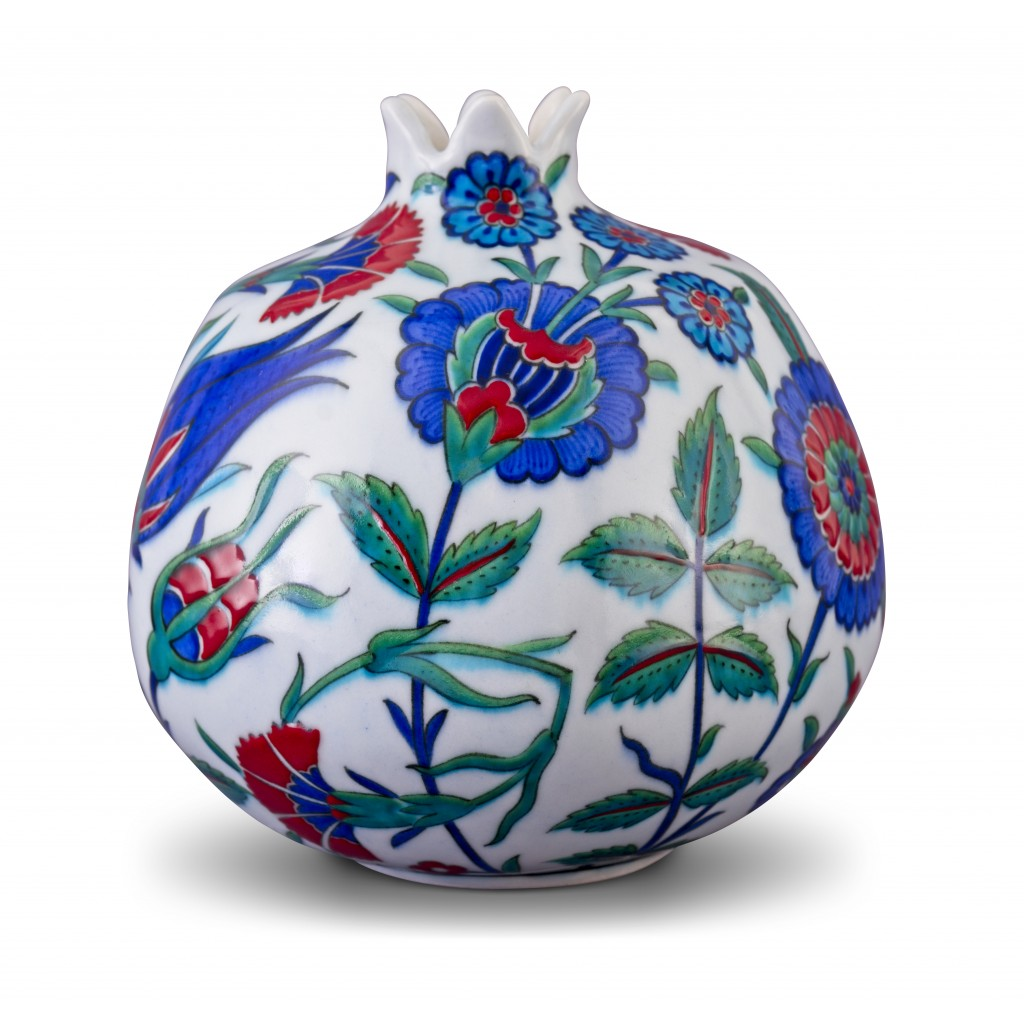 Pomegranate with floral pattern ;21;18;;; - DECORATIVE ITEM & OBJECTS