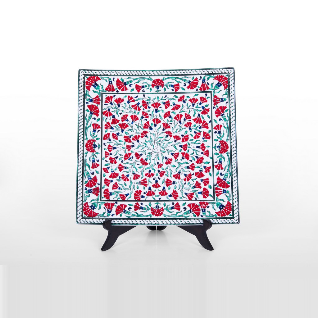 Square plate with carnation flowers ;;29 - FLORAL