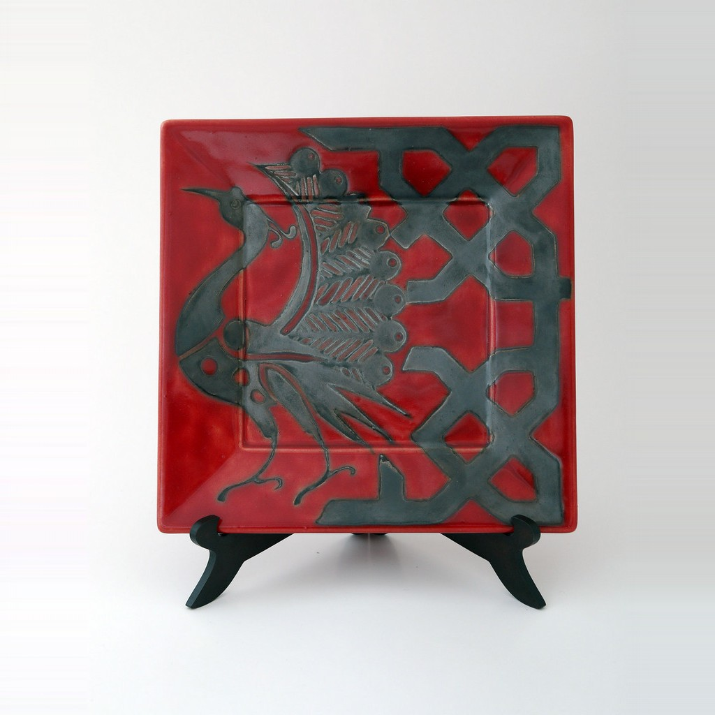Square plate with peacock and geometrical pattern ;;25 - PLATE