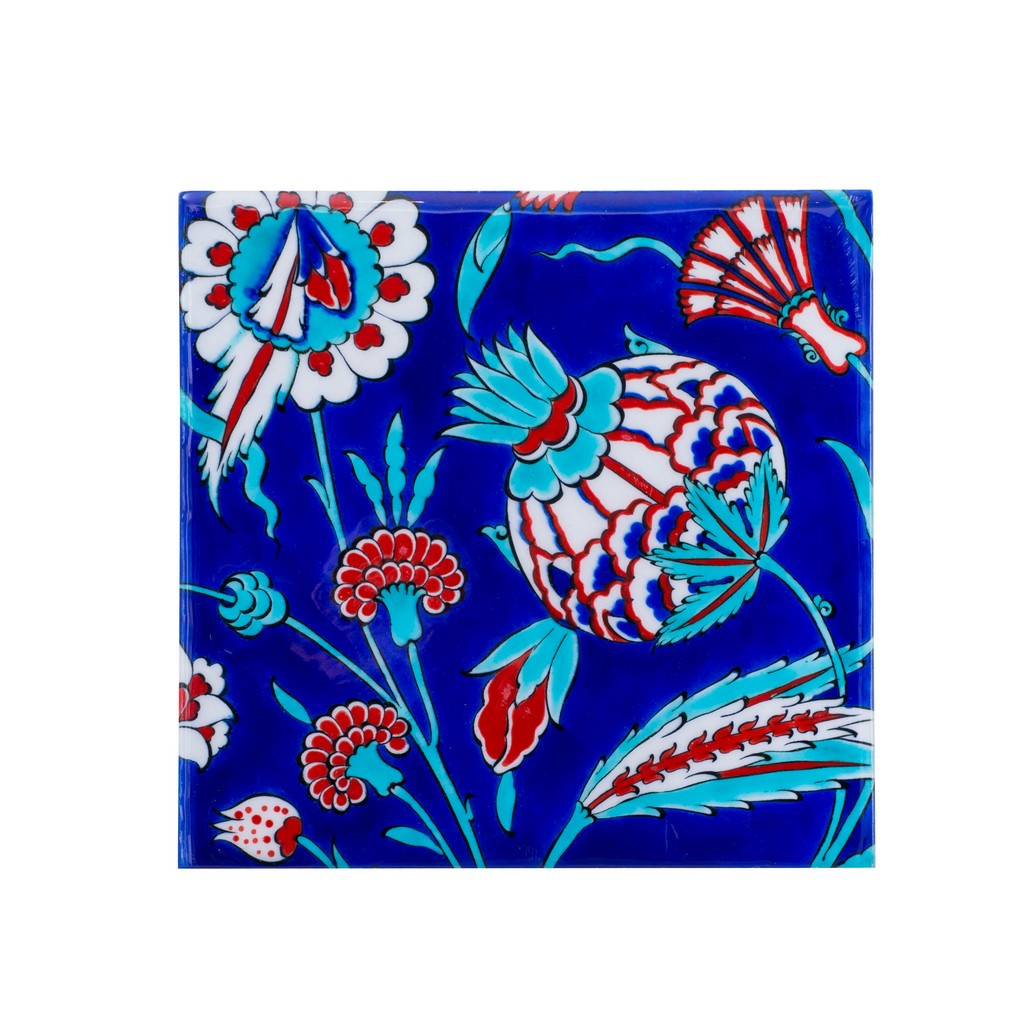 Tile with artichoke and carnation flower ;;20/25;;; - TILE & PANELS