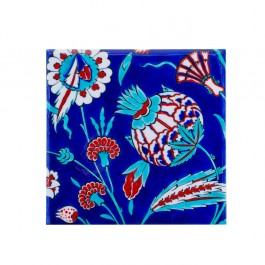 FLORAL Tile with artichoke and carnation flower ;;20/25