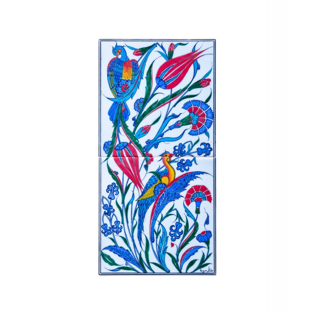 Tile with bird figures and flowers ;50;25 - ARTIST Adnan Ergüler