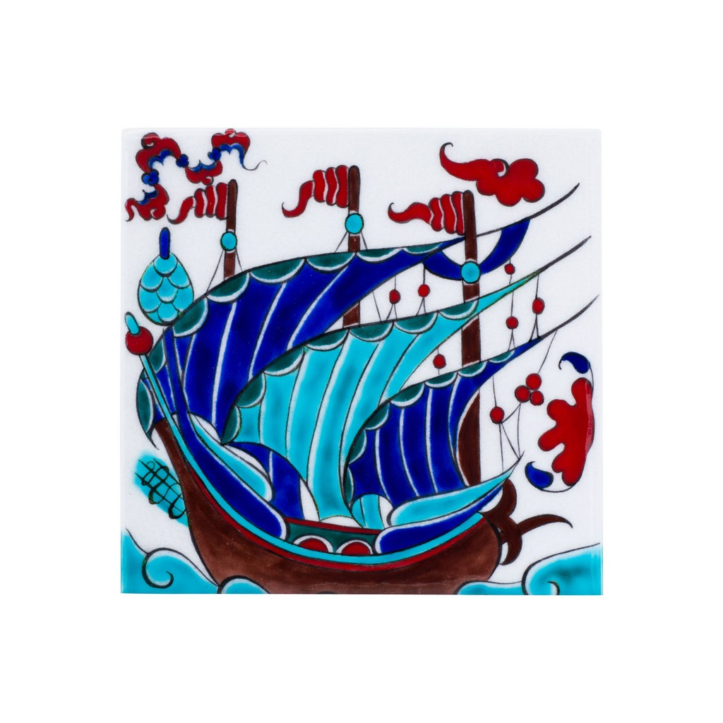Tile with boat figure ;;20/25 - TILE & PANELS